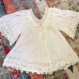 Elan gauze ribbon & crochet tunic